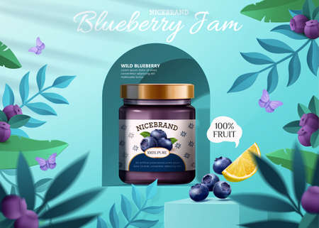 3d illustration of blueberry jam ad with blueberries on podiums, lemon and plants on blue background