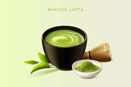 Japanese matcha latte set in 3d illustration, isolated on light green background