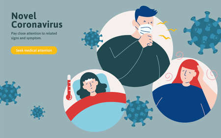 COVID-19 symptoms including cough, fever and feeling dizzy in flat style