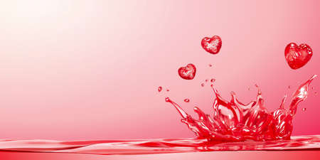 Pink water splashing with heart-shaped drops in 3d illustration, for background use