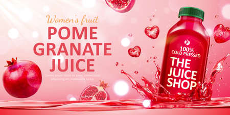 Pomegranate juice ad in 3d illustration, with bottle mockup dropped into juice with heart-shaped water splash