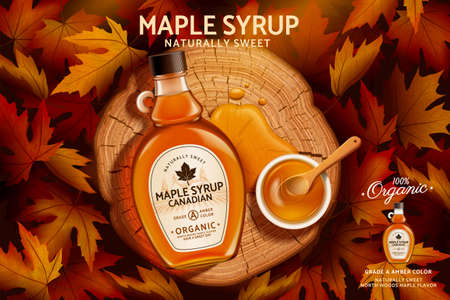 Canadian maple syrup ad in 3d illustration, top view of glass bottle mockup set on tree stump in romantic maple leaves