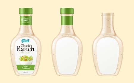 3d illustration of salad dressing bottle set, isolated on light yellow background
