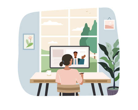 Black woman having online meeting with colleague at home office. Flat illustration, concept of video conferencing, work from home and freelancing. 일러스트