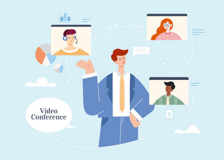 Businessman video conferencing remotely with team members or clients on screen. Flat illustration, concept of work from home or virtual workplace. 스톡 콘텐츠 - 163255413