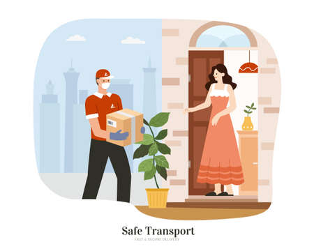 Courier with uniform and face mask delivering a parcel to home. Flat illustration. Concept of safe and clean delivery