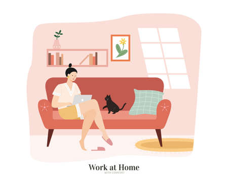 Elegant Asian woman sitting on sofa and using a laptop in living room. Flat illustration, concept of work from home or online shopping.