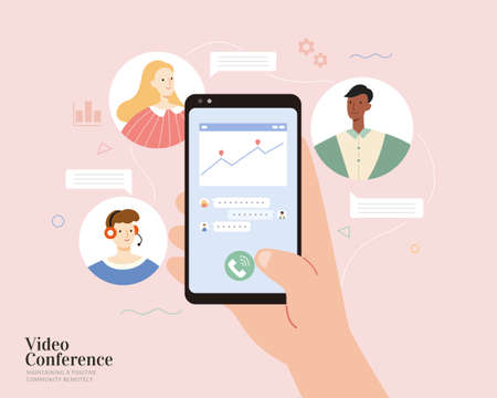 A hand holding smartphone with chart and messages on screen. Good communication with team members or clients. Flat illustration, concept of video conference or online teamwork. 일러스트