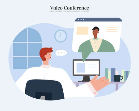 Man sitting at computer to video conference with client or team members. Flat illustration, concept of online meeting, data research and webinar.