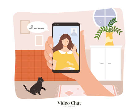 A hand holding smart phone to make video call with a young woman. Flat illustration, concept of online communication, video chatting during quarantine