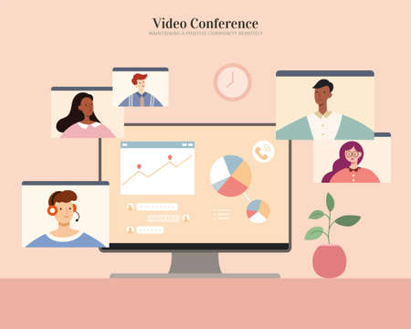 Desktop screen showing chart and messages. Online meeting with team members or clients. Flat illustration, concept of home office, virtual workplace and work from home. 일러스트