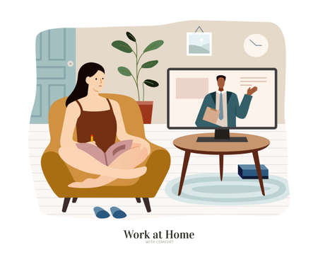 Asian woman sitting on couch and watching TV in living room. Flat illustration, concept of self quarantine during the COVID 19 lockdown or self learning through online tutorial video.