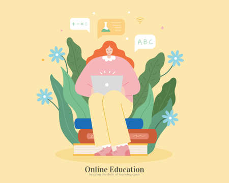 Cute girl sitting on books and using laptop with floral background. Illustration in flat design, suitable for webinar, distance learning, online education 스톡 콘텐츠 - 163343956