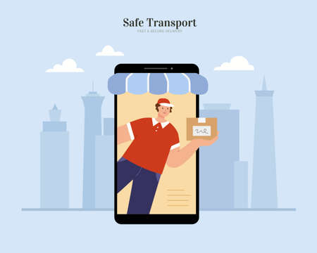 Safe and fast shipping for online shop with a courier delivering package through phone screen. Flat illustration for e-commerce and online business.