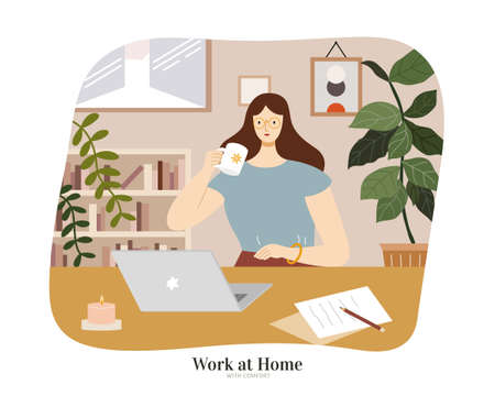 Brunette woman sitting at table with laptop and enjoying coffee. Flat illustration, concept of freelancer working from home or online learning