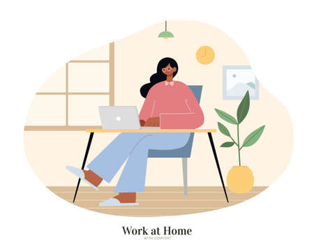 African woman sitting at desk and using laptop. Flat illustration, concept of chilling home office, freelancing and work from home.