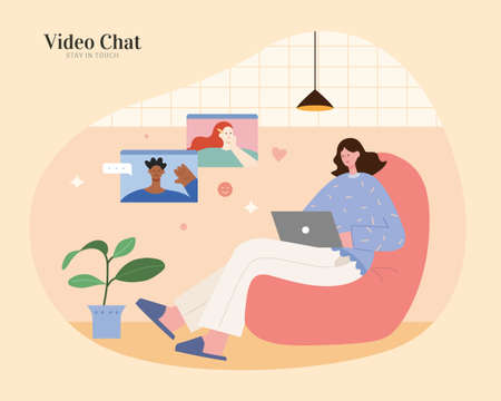 Asian woman sitting on sofa in loft and using laptop to make video call with other foreign people. Flat illustration, concept of online teaching or video chatting.