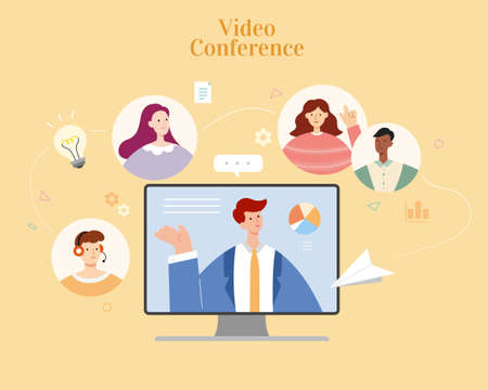 Businessman having video conferencing with team members via computer screen. Flat illustration, concept of online brainstorm, virtual workplace and webinar. 스톡 콘텐츠 - 163343990