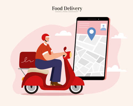 Courier offering fast and safe food delivery service by scooter, tracking the location via app on the smartphone. Flat illustration suitable for restaurant or local food delivery.