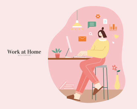 Cute woman sitting at home with comfort and browsing charts on computer. Flat illustration. Concept of brainstorming or data analysis. 일러스트