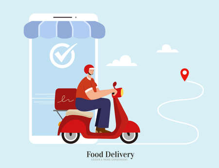 Courier offering fast and safe food delivery service by scooter. Concept of ordering food online via smartphone app. Flat illustration suitable for local delivery or restaurant takeout. 스톡 콘텐츠 - 163344053
