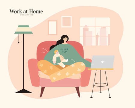 Asian mom with pajamas holding cute baby and using laptop on sofa. Flat illustration. Work from home, mother entrepreneur or freelancer concept.