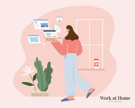 Cute woman walking in a room with a laptop in hand and browsing multiple windows. Flat illustration. Concept of brainstorming, data analysis or searching. 스톡 콘텐츠 - 163344057