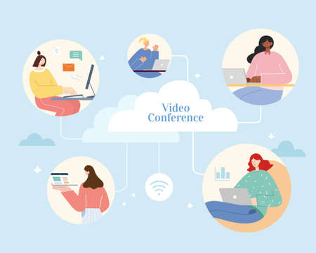 People from different places using laptops to access cloud database. Flat illustration, concept of cloud computing and remote access.