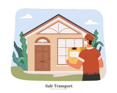 Courier with uniform and face mask delivering a box package to home. Flat illustration. Concept of safe and clean delivery