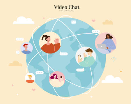 Video chatting with people from different locations on the earth to keep in touch and maintain communication. Flat illustration, concept of global network connection.