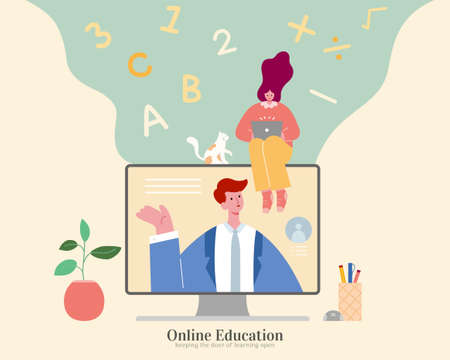 Self learning at home via internet, concept of keep improving knowledge in life. Illustration in flat design, suitable for online tutorial and education business 일러스트