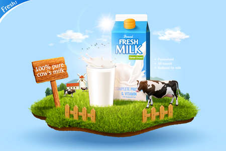 3d milk ad template for product display. Milk pack mock-up set in a miniature farm with cow and glass.