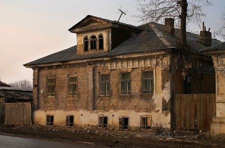 decimated: The old demolished house in small town                   Stock Photo