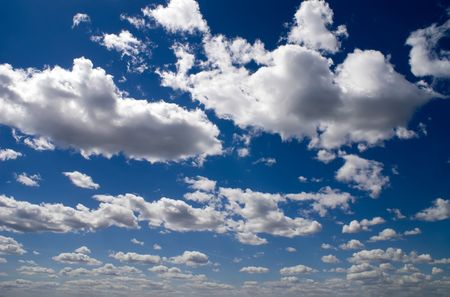 The cloudy sky in sunny summer day Stock Photo