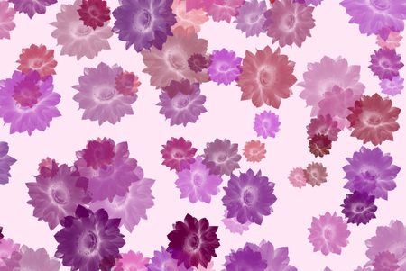 The background with coloured silouettes of cactus flowers Stock Photo