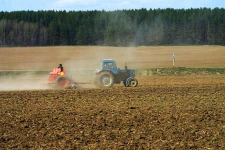 The tractor sowing seeds winter crops on a field photo