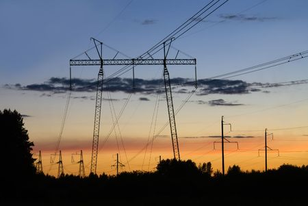 The three steel high voltage transmission towers
