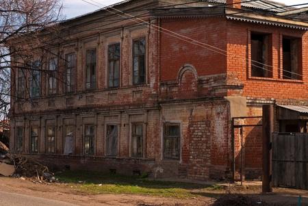 The old abandoned brick house under construction Stock Photo