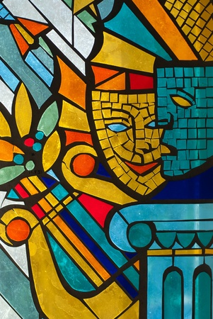 The fragment of coloured stained glass window