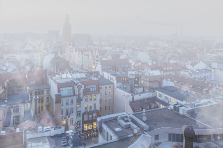 Smog over the city of Wroclaw, Poland. Winter view of the city skyline