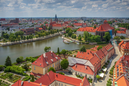View from the cathedral to the river and buildings - Wroclaw, Poland