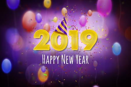 Happy New Year 2019 Banco de Imagens