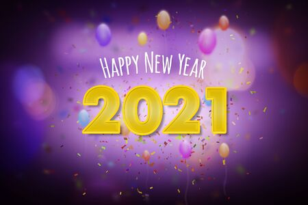 Happy New Year 2021, New Year greeting card concept with colorful party theme, balloons and confetti
