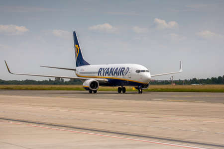 Wroclaw, Poland - June 17, 2020: Boeing 737 Ryanair airplane taxiing to the terminal, just before landing from service test flight at Wroclaw aerodrome during Covid-19 european airspace lockdown