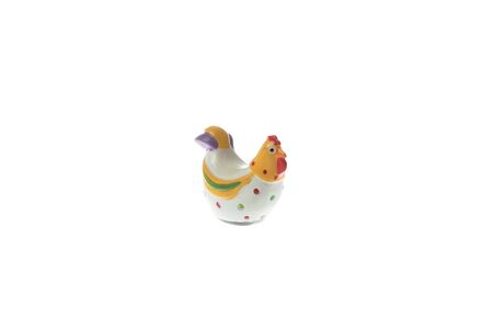 Ceramic colorful chicken for easter decoration, isolated on white