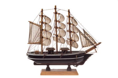 Minuature wooden ship model, isolated on white