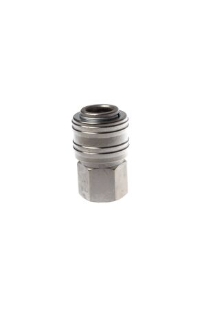 Steel female quick coupling to female thread adapter, isolated on white background.