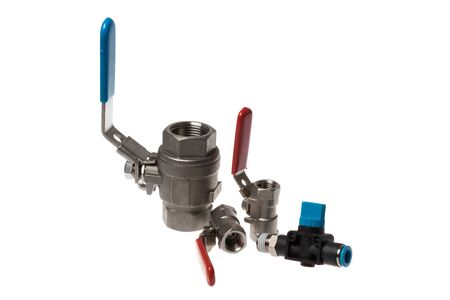"Set of steel ball spherical valve with red and blue handle and inner threading 1/4"" and 3/4"" and pneumatic shut off valve, isolated on white"