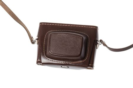 Vintage retro brown leather closed camera case, isolated on white background Stockfoto