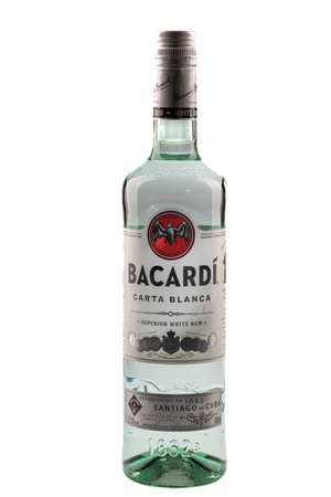 VARNA, BULGARIA - APRIL 14, 2020. Bottle of Bacardi Carta Blanca superior white rum, isolated on white background. Bacardi Limited is the largest American privately held, family-owned spirits company in the world.
